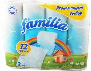 Т/бумага Familia Plus 2-х сл. 12шт белая РАДУГА
