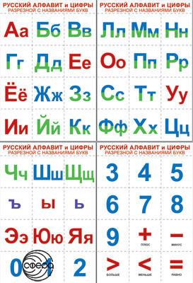 Комплект познавательных мини-плакатов. Русский алфавит и цифры разрезные, с названиями букв (4 листа А4)