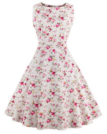 Платье в ретро стиле без рукавов с цветоным принтом Цвет: БЕЛЫЙ