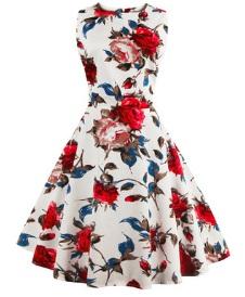 Платье в ретро стиле без рукавов с цветоным принтом Цвет: БЕЛЫЙ (КРАСНЫЕ ЦВЕТЫ)