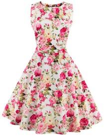 Платье в ретро стиле без рукавов с цветоным принтом Цвет: БЕЛЫЙ (МЕЛКИЕ ХРИЗАНТЕМЫ)