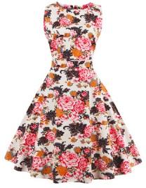 Платье в ретро стиле без рукавов с цветоным принтом Цвет: БЕЛЫЙ (КРУПНЫЕ ХРИЗАНТЕМЫ)
