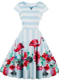 Платье в ретро стиле с V вырезом и короткими рукавами Цвет: ФЛАМИНГО