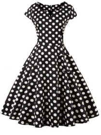 Платье в ретро стиле с V вырезом и короткими рукавами Цвет: ЧЕРНЫЙ (БЕЛЫЙ ГОРОХ)