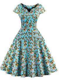 Платье в ретро стиле с V вырезом и короткими рукавами Цвет: СИНИЙ (БАБОЧКИ)