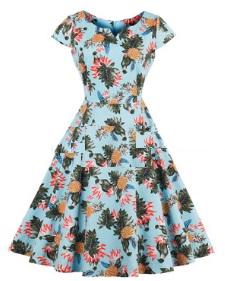 Платье в ретро стиле с V вырезом и короткими рукавами Цвет: АНАНАСЫ