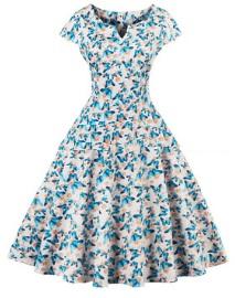 Платье в ретро стиле с V вырезом и короткими рукавами Цвет: БЕЛЫЙ (БАБОЧКИ)