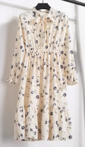 Платье с длинными рукавами и воротником-бантом Цвет: 14