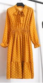 Платье с длинными рукавами и воротником-бантом Цвет: 17