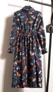 Платье с длинными рукавами и воротником стойкой Цвет: 2