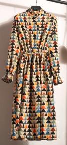 Платье с длинными рукавами и воротником стойкой Цвет: 8