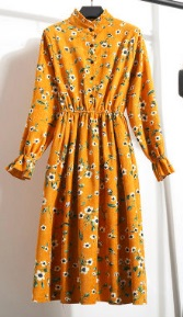 Платье с длинными рукавами и воротником стойкой Цвет: 12