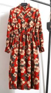 Платье с длинными рукавами и воротником стойкой Цвет: 13