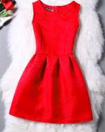 Жаккардовое платье без рукавов Цвет: КРАСНЫЙ