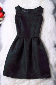 Жаккардовое платье без рукавов Цвет: ЧЕРНЫЙ