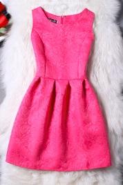 Жаккардовое платье без рукавов Цвет: РОЗОВО-КРАСНЫЙ