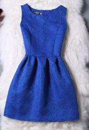 Жаккардовое платье без рукавов Цвет: СИНИЙ