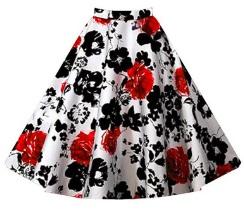 Винтажная юбка Цвет: БЕЛЫЙ (КРАСНЫЕ ЦВЕТЫ)