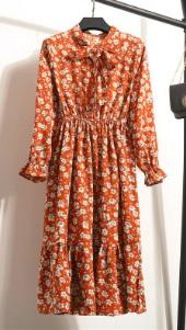 Платье с длинными рукавами и воротником-бантом Цвет: 1