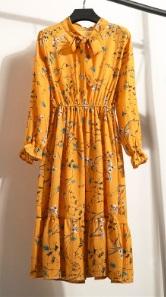 Платье с длинными рукавами и воротником-бантом Цвет: 2