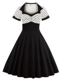 Платье в ретро стиле с короткими рукавами Цвет: ЧЕРНЫЙ С БЕЛЫМ
