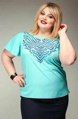 Блузка небесно-голубая. Размер 56-58. Высокая мода для пышных красавиц.