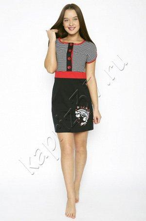 """Платье Материал: 100% хлопок. Платье""""в морском стиле"""",с коротким рукавом. Маломерит на 1 размер"""