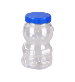 Банка 0,5л Банка 0,5 л ПЭТ [МЕДВЕЖОНОК]. Размеры изделия: Д / Ш / В  560 / 230 / 135мм. Прозрачная банка в форме медвежонка, предварительно наполненная мёдом, привлекательно смотрится как на кухонном