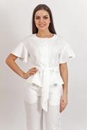 Блуза льняная молочного цвета размер 44-46