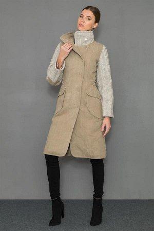 Пальто с трик. вставками