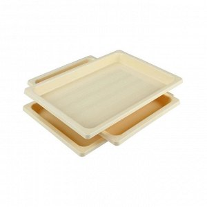 Поднос Поднос для заморозки пельменей. Размеры изделия: Д / Ш / В  360 / 250 / 30 мм. Углубленные прямоугольные подносы очень удобны для заморозки пельменей, мантов, котлет, так как решают вопрос раци