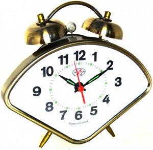 Будильник Тип механизма: Кварцевый Корпус: Латунь Минеральное стекло ГАБАРИТЫ (В\Ш\Г) : 130-150-45 (мм.)