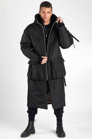 ПАЛЬТО Дизайнерское зимнее длинное пальто на молнии. Воротник-стойка,удобные карманы,рукав с отверстием для пальца,множество декоративных элементов. Внутренняя подкладка цвета хаки. Внешняя плащево-ку