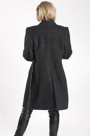 ПАЛЬТО Стильное дизайнерское пальто в стиле «нео-классика».Двубортное,на пришивном поясе,женственный силуэт, разрезы на рукавах,шлица,усиленные надплечники. Пальтовая ткань-шерсть темно-серого цвета,