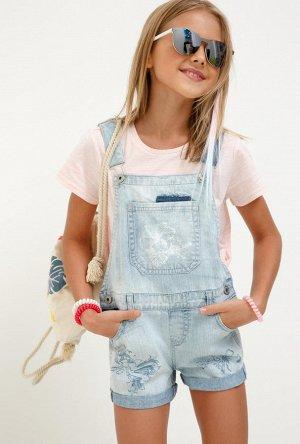 Полукомбинезон джинсовый для девочек Fuga светло-голубой