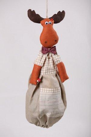 Лось Высота изделия60-62 см. Состав: Лен 100% Вашему вниманию предлагается добрая и милая кукла, несущая тепло и уют в каждый дом! Это удобный и функциональный контейнер для хранения полиэтиленовых п