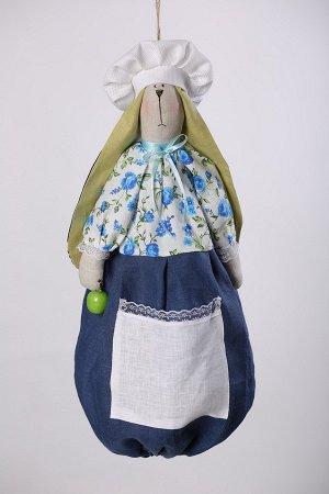 Зайка Высота изделия60-62 см. Состав: Лен 100% Вашему вниманию предлагается добрая и милая кукла, несущая тепло и уют в каждый дом! Это удобный и функциональный контейнер для хранения полиэтиленовых