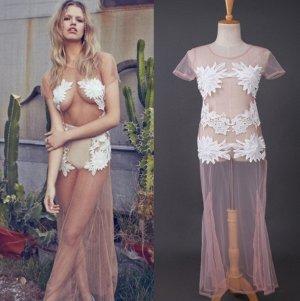 Платье длинное с короткими рукавами прозрачное цвет: НА ФОТО