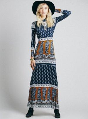 Платье длинное с длинными рукавами цвет: СИНИЙ