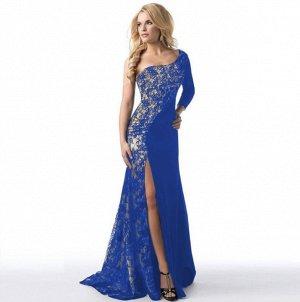 Платье длинное с одним длинным рукавом цвет: СИНИЙ