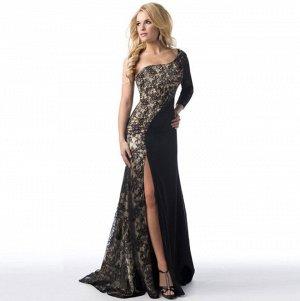 Платье длинное с одним длинным рукавом цвет: ЧЕРНЫЙ