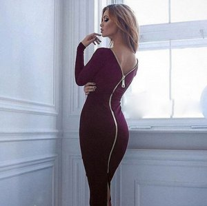 Платье средней длины с длинными рукавами цвет: КРАСНОЕ ВИНО