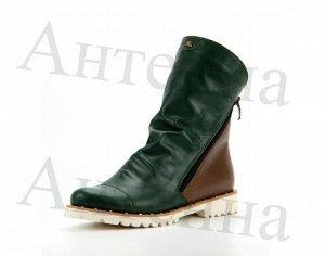 Ботинки кожа зеленый/коричневый демисезон
