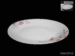 Блюдо Овальное блюдо 30см. ОРХИДЕЯ в под.уп.(х24)Опаловое стекло  Опаловое стекло