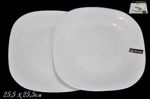 Набор Набор из 2х квадратных тарелок  25,5см WHITE в под.уп.(х18)Опаловое стекло  Опаловое стекло