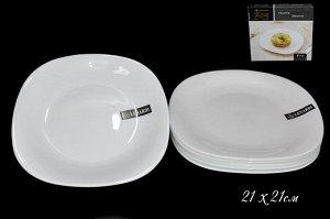 Набор Набор из 6 квадратных тарелок 21см WHITE в под.уп.(х8)Опаловое стекло  Опаловое стекло
