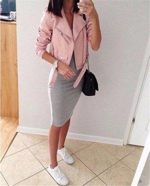 Короткая куртка-косуха с поясом Цвет: РОЗОВЫЙ