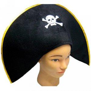 Шляпа Пирата велюр с золотой каймой/Ф