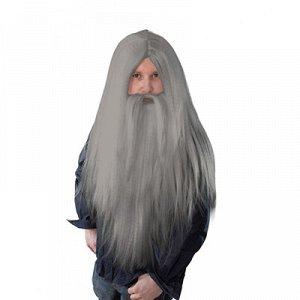 Парик Волшебника с бородой серый/Ф