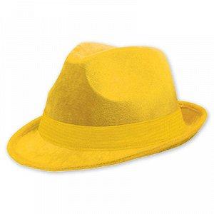 Шляпа-федора велюр желтая/A